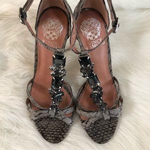 Vince Camuto Gray snake skin gem heels